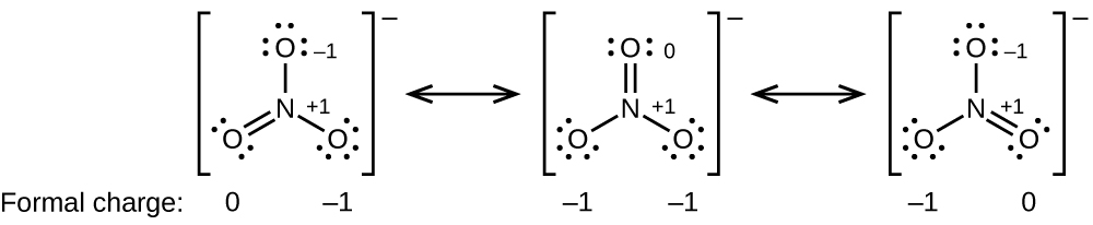 "[Three Lewis structures are shown, with brackets surrounding each with a superscripted negative sign and a double ended arrow in between. The left structure shows a nitrogen atom single bonded to two oxygen atoms, each with three lone pairs of electrons and double bonded to an oxygen atom with two lone pairs of electrons. The single bonded oxygen atoms are labeled, from the top of the structure and going clockwise, ""open parenthesis, negative 1, close parenthesis, open parenthesis, positive 1, close parenthesis"". The symbols and numbers below this structure read ""open parenthesis, 0, close parenthesis, open parenthesis, negative 1, close parenthesis. The middle structure shows a nitrogen atom single bonded to two oxygen atoms, each with three lone pairs of electrons, one of which is labeled ""open parenthesis, positive 1, close parenthesis"" and double bonded to an oxygen atom with two lone pairs of electrons labeled ""open parenthesis, 0, close parenthesis"". The symbols and numbers below this structure read ""open parenthesis, negative 1, close parenthesis, open parenthesis, negative 1, close parenthesis. The right structure shows a nitrogen atom single bonded to two oxygen atoms, each with three lone pairs of electrons and double bonded to an oxygen atom with two lone pairs of electrons. One of the single bonded oxygen atoms is labeled, ""open parenthesis, negative 1, close parenthesis while the double bonded oxygen is labeled, ""open parenthesis, positive 1, close parenthesis"". The symbols and numbers below this structure read ""open parenthesis, negative 1, close parenthesis"" and ""open parenthesis, 0, close parenthesis"".]"