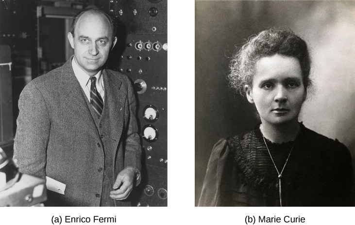 Photos of Enrico Fermi and Marie Curie
