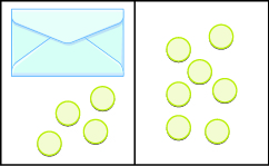 The image is divided in half vertically. On the left side is an envelope with 4 counters below it. On the right side is 7 counters.