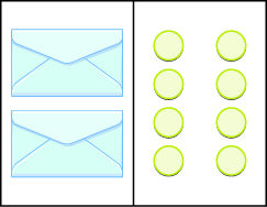 This figure has two columns. In the first column there are  two envelopes. In the second column there are two vertical rows, each includes four blue circles.