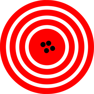 A red target is shown with four dots that represent attempts by a GPS system to locate a restaurant at the center of the bull's-eye. The dots are concentrated close to one another, indicating high precision, and they are very close to the actual location of the restaurant, indicating high accuracy.