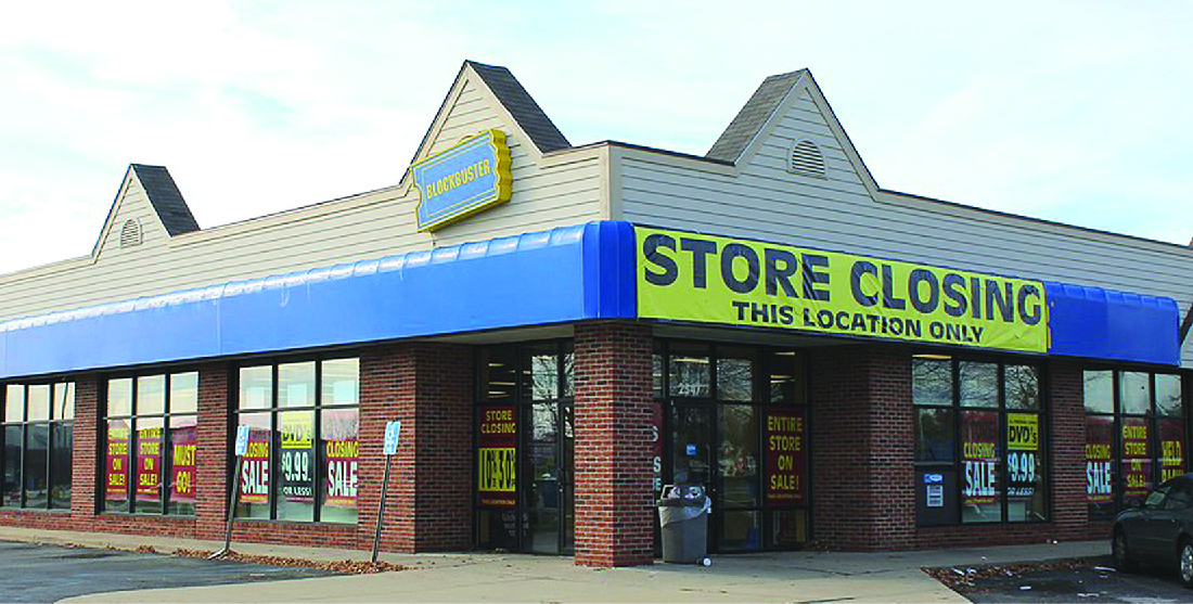 Photo of a Blockbuster store front.