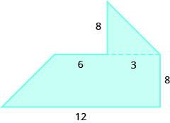 A geometric shape is shown. It is a trapezoid with a triangle attached to the top on the right side.  The height of the trapezoid is labeled 8, the bottom base is labeled 12, and the top is labeled 9. The height of the triangle is labeled 8.