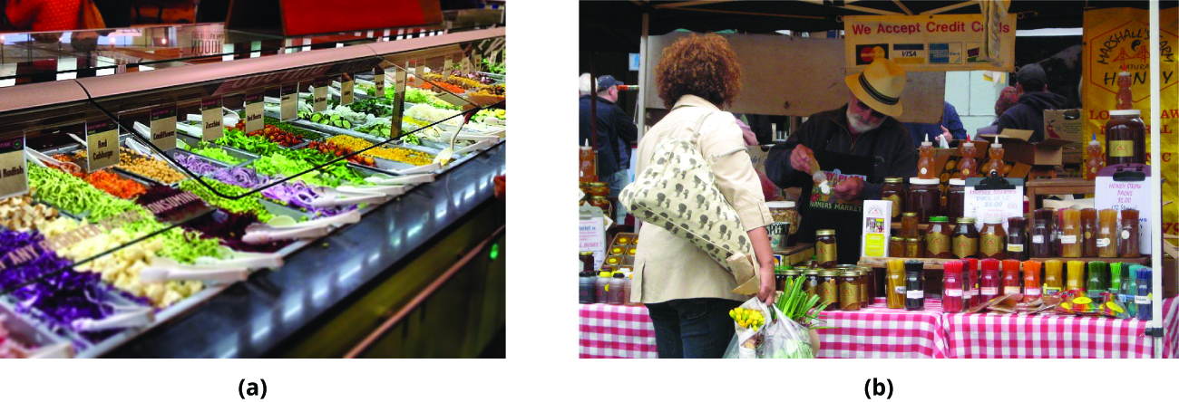 Photograph a shows a salad bar at a grocery store. Photograph b shows a customer looking at products at a farmer's market stand with the seller of the product behind the table.