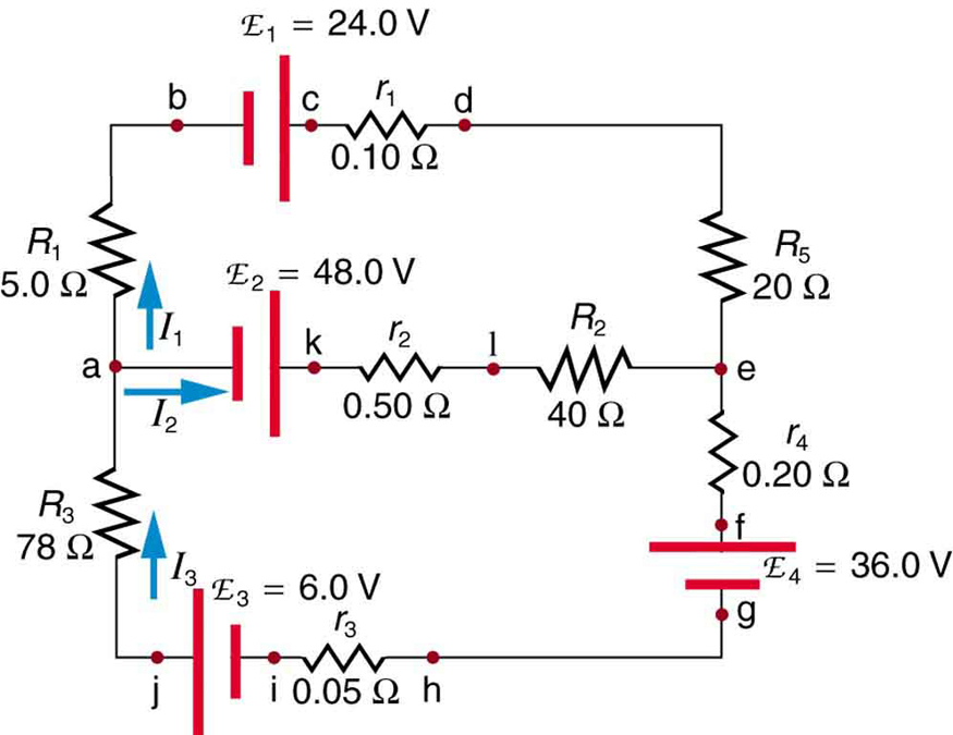 The diagram shows a complex circuit with four voltage sources E sub one, E sub two, E sub three, E sub four and several resistive loads, wired in two loops and many junctions. Several points on the diagram are marked with letters a through j. The current in each branch is labeled separately.