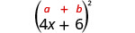 4 x plus 6, in parentheses, squared. Above the expression is the general formula a plus b, in parentheses, squared.
