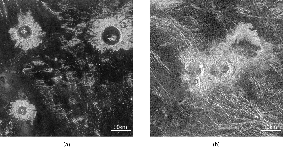 "Radar image of impact craters on Venus. In panel (a), on the left, three impact craters are seen surrounded by ejecta fields. The scale at the lower right reads ""50 k m,"" which is about the size of the largest crater in the top right of the photograph. In panel (b), on the right, the triple crater and its irregular debris field lie at the center of the image. The scale at lower right reads ""10 k m."""