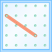 The figure shows a grid of evenly spaced dots. There are 5 rows and 5 columns. There is a rubber band style loop connecting the point in column 1 row 2 and the point in column 4 row 4.