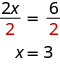 This figure has two rows. The first row has the equation 2x divided by 2 equals 6 divided by 2. The second row has the equation x equals 3.