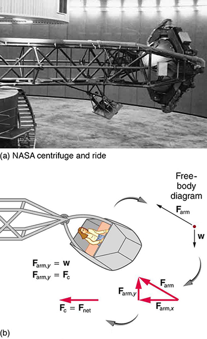 Figure a shows a NASA centrifuge n a big hall. In figure b, there is a girl sitting in the cage of the centrifuge. The centripetal force on the cage is directed toward left. The direction of the weight of the cage is downward and the force on the arm is directed in north-west direction.
