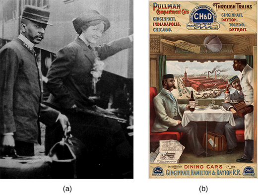 Photograph (a) shows a black porter helping a white woman with her luggage. Illustration (b) shows an advertisement for Pullman cars. Two well-dressed white men sit at a table in a dining car, enjoying food and drink, as a black server attends to them. In the window, an industrial scene focused on a large factory is visible.