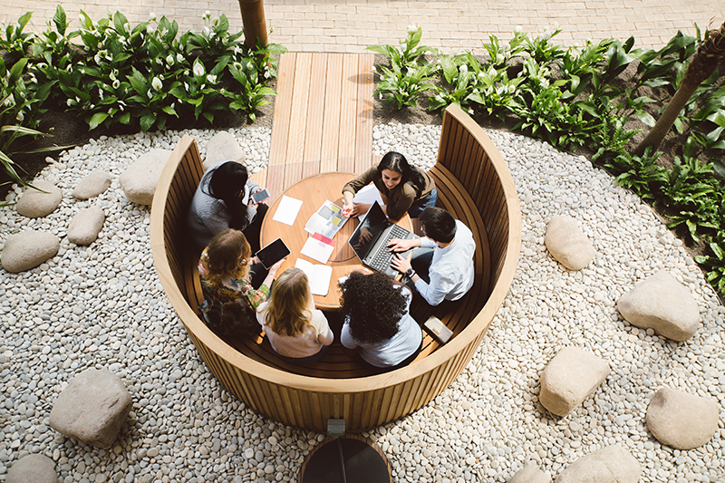 A photo shows an overhead view of students sitting in a round wooden cubicle built in the winter garden of the Essex Business School campus. The area around the cubicle is decorated with white pebbles and stones bounded by small green plants.