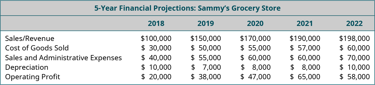 Five-year financial projections for Sammy's Grocery Store. Sales/Revenue is projected to be $100,000 in 2018, $150,000 in 2019, $170,000 in 2020, $190,000 in 2021, and $198,000 in 2022. Cost of Goods Sold is projected to be $30,000 in 2018, $50,000 in 2019, $55,000 in 2020, $57,000 in 2021, and $60,000 in 2022. Sales and Administrative Expenses are projected to be $40,000 in 2018, $55,000 in 2019, $60,000 in 2020, $60,000 in 2021, and $70,000 in 2022. Depreciation is projected to be $10,000 in 2018, $7,000 in 2019, $8,000 in 2020, $8,000 in 2021, and $10,000 in 2022. Operating Profit is projected to be $20,000 in 2018, $38,000 in 2019, $47,000 in 2020, $65,000 in 2021, and $58,000 in 2022.