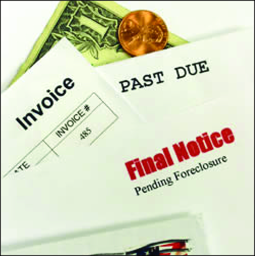 An image shows a dollar bill, a penny, and a stack of bills, including a past due notice, an invoice, and a final notice of pending foreclosure.