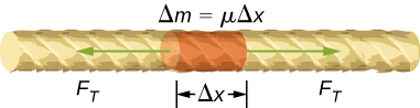 Figure shows a section of a string with one portion highlighted. The length of the highlighted portion is labeled delta x. Two arrows from this portion point in opposite directions along the length of the string. These are labeled F subscript T. The highlighted portion is labeled delta m equal to mu delta x.