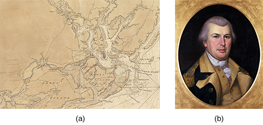 Image (a) shows a 1780 British map of Charleston with details of the locations of Continental forces. A portrait of General Nathanael Greene is shown in image (b).