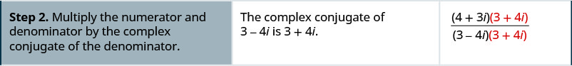 Step 2 is to multiply the numerator and denominator by the complex conjugate of the denominator. The complex conjugate of 3 minus 4 i is 3 plus 4 i. The resulting expression is the quantity 4 plus 3 i in parentheses times the quantity 3 plus 4 i in parentheses divided by the product of 3 minus 4 i in parentheses and the quantity 3 plus 4 i in parentheses.