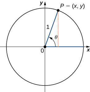 "An image of a graph. The graph has a circle plotted on it, with the center of the circle at the origin, where there is a point. From this point, there is one line segment that extends horizontally along the x axis to the right to a point on the edge of the circle. There is another line segment that extends diagonally upwards and to the right to another point on the edge of the circle. This point is labeled ""P = (x, y)"". These line segments have a length of 1 unit. From the point ""P"", there is a dotted vertical line that extends downwards until it hits the x axis and thus the horizontal line segment. Inside the circle, there is an arrow that points from the horizontal line segment to the diagonal line segment. This arrow has the label ""theta""."