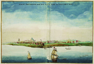 A watercolor shows New Amsterdam, with several ships in its surrounding waters.
