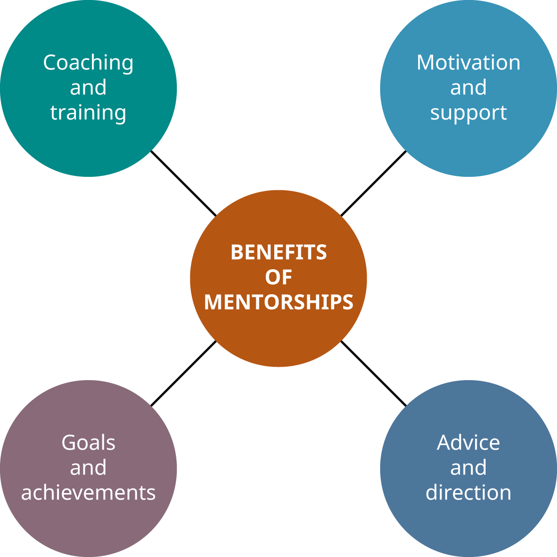 Benefits of Mentorships include coaching and training, motivation and support, goals and achievements, and advice and direction.