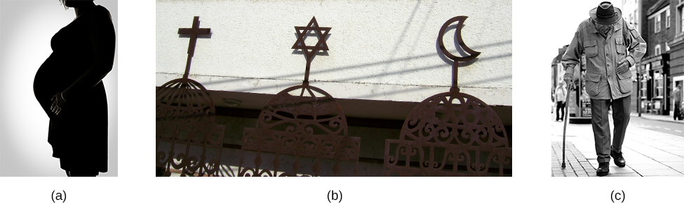 Photograph A shows the side profile of a pregnant woman. Photograph B shows a cross, a star of David, and a crescent displayed next to one another. Photograph C shows an older person with a cane walking down the street.