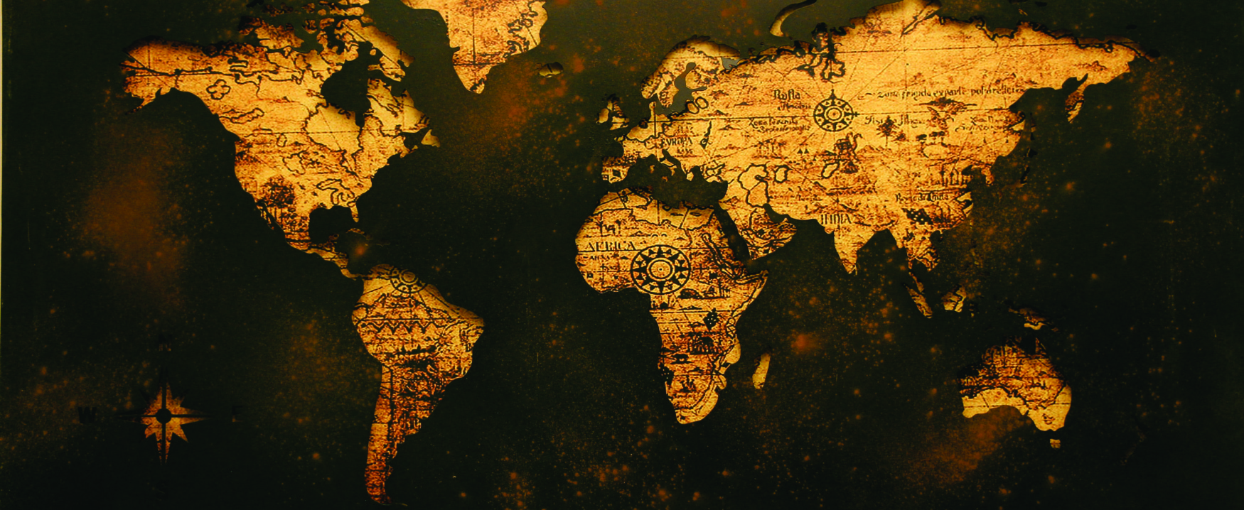 This image shows a map of the world on a dark background with the continents cutout to reveal a lighter color.