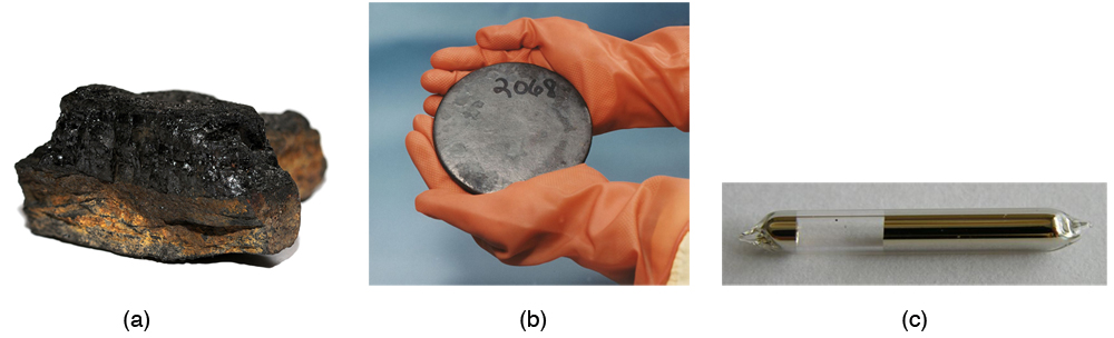 The first image shows a lump of coal. The second image shows a pair of hands holding a metal uranium disk. Third image shows a cylindrical glass tube containing slivery-brown cesium.