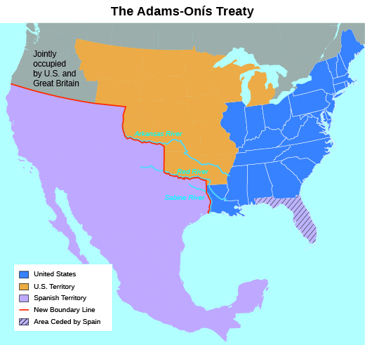 "A map shows the results of the Adams-Onís Treaty of 1819. Colors indicate ""United States""; ""U.S. Territory""; ""Jointly occupied by U.S. and Great Britain""; ""Spanish Territory""; and ""Area ceded by Spain."" A ""New Boundary Line"" indicates the border between U.S. and Spanish territory established by the treaty."