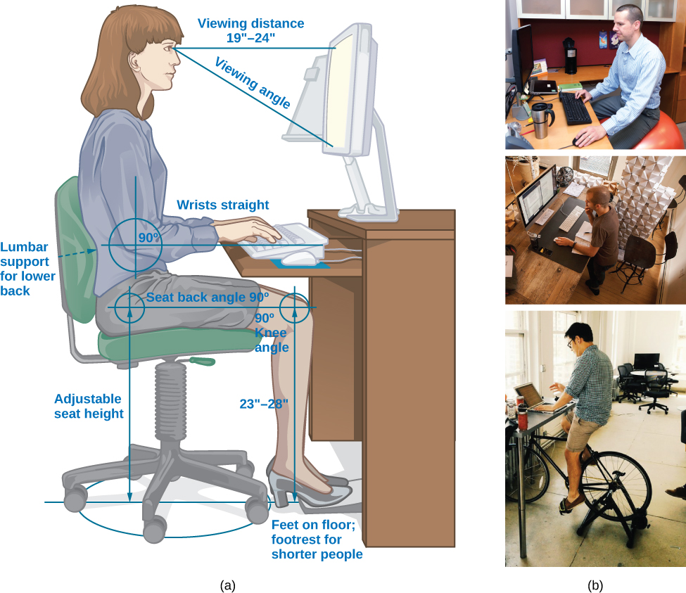 """The figure includes an illustration that shows a person seated at a desk. Measurements are provided showing the proper distance and angle from work equipment. The labels are as follows: Viewing distance from head to monitor should be 19–24 inches."" For the viewing angle, the eyes should be about level with the top of the screen. The chair should provide lumbar support for the lower back. The forearm and upper arm should be at a 90 degree angle, with wrists straight over the keyboard. The seat back angle should also be 90 degrees, as should the angle of the bend of the knees. The top of the knees should be between 23 and 28 inches from the floor. If this distance cannot be met due to short stature, a footrest should be used below the feet. The seat should have an adjustable height to help in posturing oneself according to these suggested angles and distances. The figure also includes three photos that show different workspaces. The first photo shows a man sitting on an exercise ball at a desk. The second photo shows a man standing at a desk. The third photo shows a man riding a stationary bicycle at his desk."