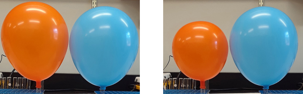 This figure shows two photos. The first photo shows an inflated orange balloon and an inflated blue balloon. Both balloons are about the same size. The second photo shows the same two balloons, but the orange one is now smaller than the blue one.