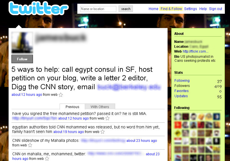 A Twitter update page from a U.S. photojournalist in Cairo, Egypt, during the recent uprising is shown.