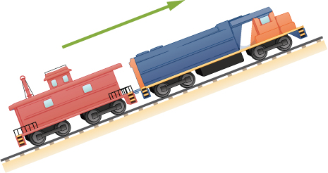 Figure shows a train moving up a hill.