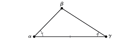 An oblique triangle consisting of angles alpha, beta, and gamma. Alpha and gamma's values are known, as is the side opposite beta, between alpha and gamma.