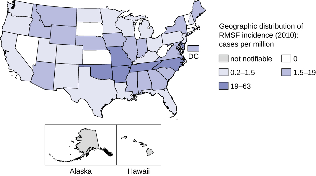 Map of geographic distribution of RMS incidence in 2010; cases per millions. Not notifiable in Alaska and Hawaii. 0 in: NV, SD, NE, WV, VT, MA. 0.2 – 1.5 in WA, OR, CA, UT, CO, NM, TX, ND, MN, WI, MI, OH, PA, LI, FL, LA, KY. 1.9 – 19 in ID, MT, WY, NE, IA, IL, IN, AZ, MS, AL, GA, SC, VA, DC. 19 – 63 in OK, MO, AR, TN, NC