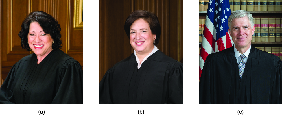 Image A is of Justice Sonia Sotomayor. Image B is of Justice Elena Kagan. Image C is of Justice Neil Gorsuch.