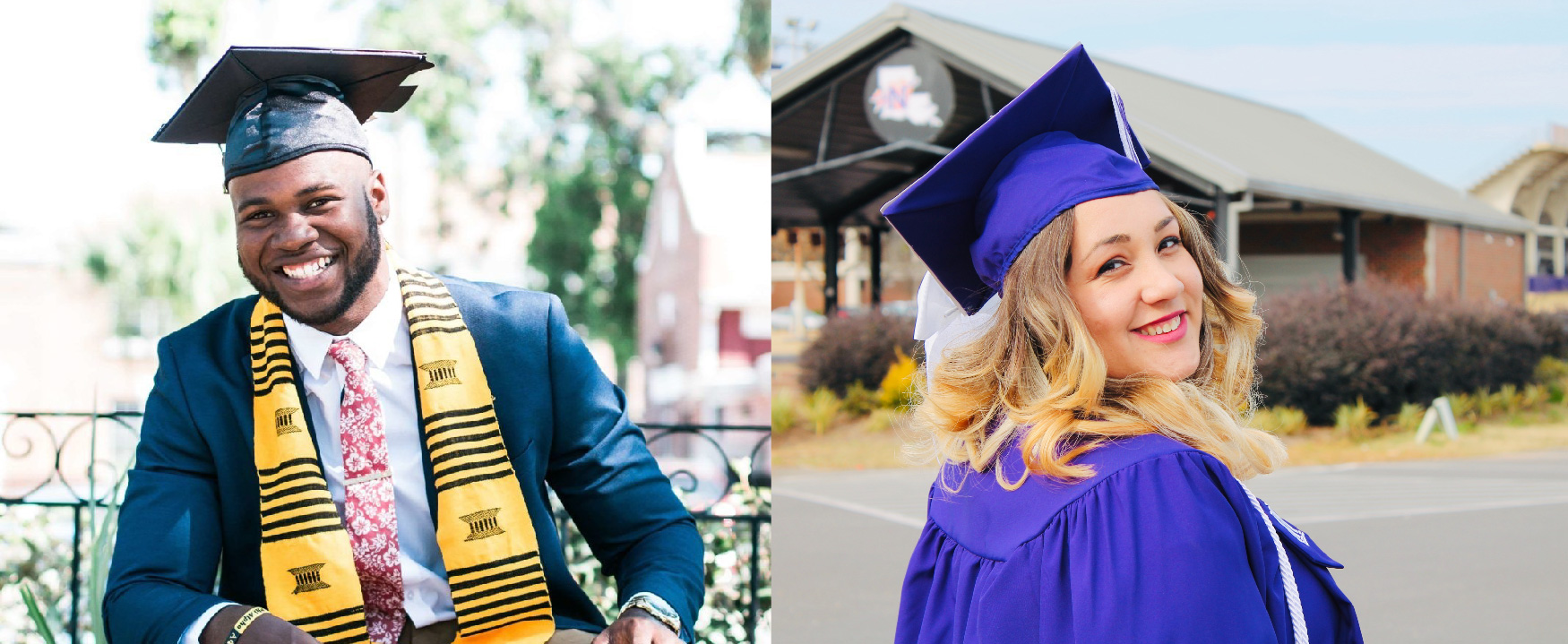 The photo on the left shows an African male student in academic dress sitting outdoors and smiling at the camera. The outdoor photo on the right shows a Caucasian female student smiling at the camera.