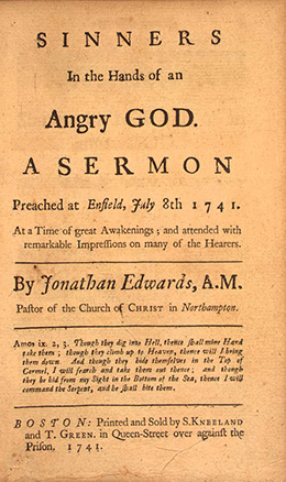 The frontispiece of Sinners in the Hands of an Angry God, A Sermon Preached at Enfield, July 8, 1741 is shown.