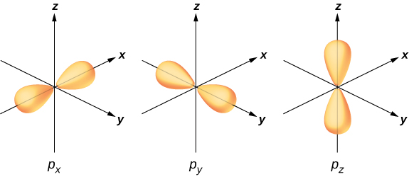 Three separate figures show electron orbitals along the x, y and z axes. These are labeled p subscript x, p subscript y and p subscript z respectively.