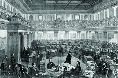 An illustration shows the House of Representatives bringing its case against President Johnson to the Senate. Representatives sort through papers, convene, and make arguments before the senators.