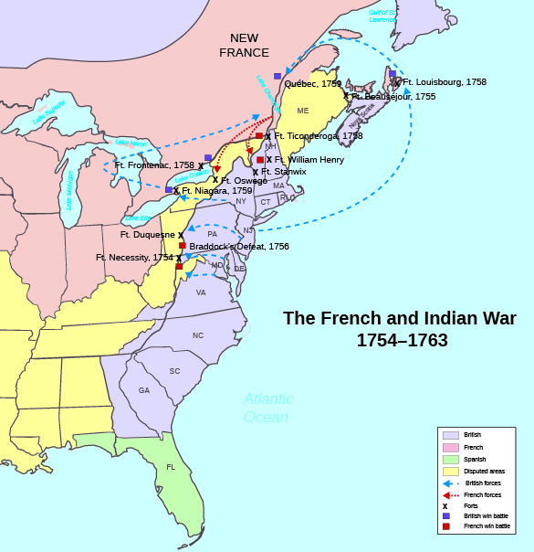 A schematic map depicts the events of the French and Indian War, including troop movements, important battles, and French and British forts.