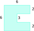 A geometric shape is shown. It is a sideways U-shape. The top is labeled 6, the left side is labeled 6. An inside horizontal piece is labeled 3. Each of the vertical pieces on the right are labeled 2.