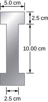 Picture is a drawing of an I beam. The central rod is 10 cm long and 2.5 cm thick. Two parallel rods, 5 cm wide and 2.5 cm thick, are connected to the opposite sides of the center rod.