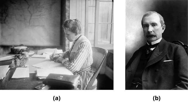Part A shows Ida Tarbell writing by hand at a desk. Part B shows John D. Rockefeller.