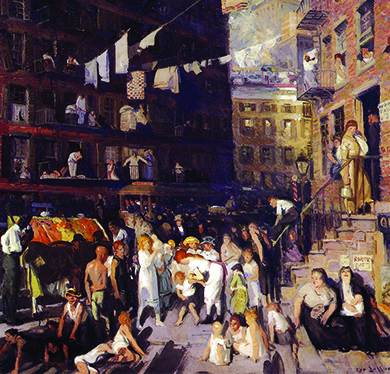 A painting shows a realistic urban scene. Men, women, and children congregate in a large crowd between tenement houses, where they sit and stand on the street, on the stoops, and in front of their windows. A crowded streetcar is visible, running past the building in the background. Clotheslines filled with hanging laundry run between the buildings.