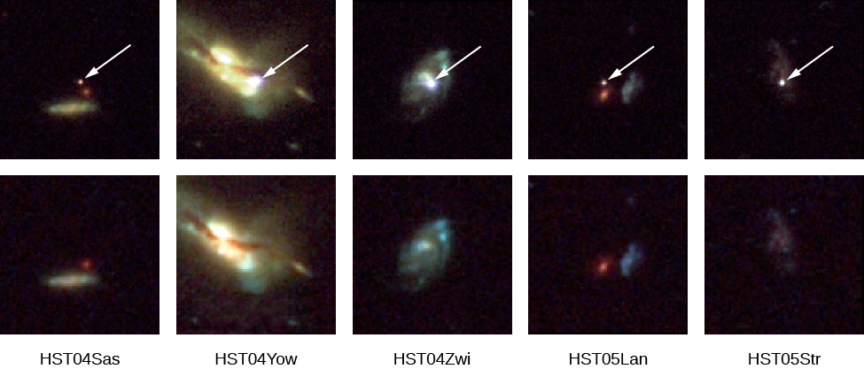 "Five Supernovae and Their Host Galaxies. The top row shows each galaxy with its supernova indicated with an arrow. The bottom row shows the same galaxies before or after the supernovae exploded. The galaxies shown are, from left to right, ""HST04Sas"", ""HST04Yow"", ""HST04Zwi"", ""HST05Lan"" and ""HST05Str""."