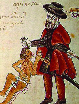 A drawing shows a Spaniard, wearing a beard and European clothing and holding a stick or sword, pulling the hair of a much smaller Native American who is wearing a loincloth and has blood flowing from his face and body.