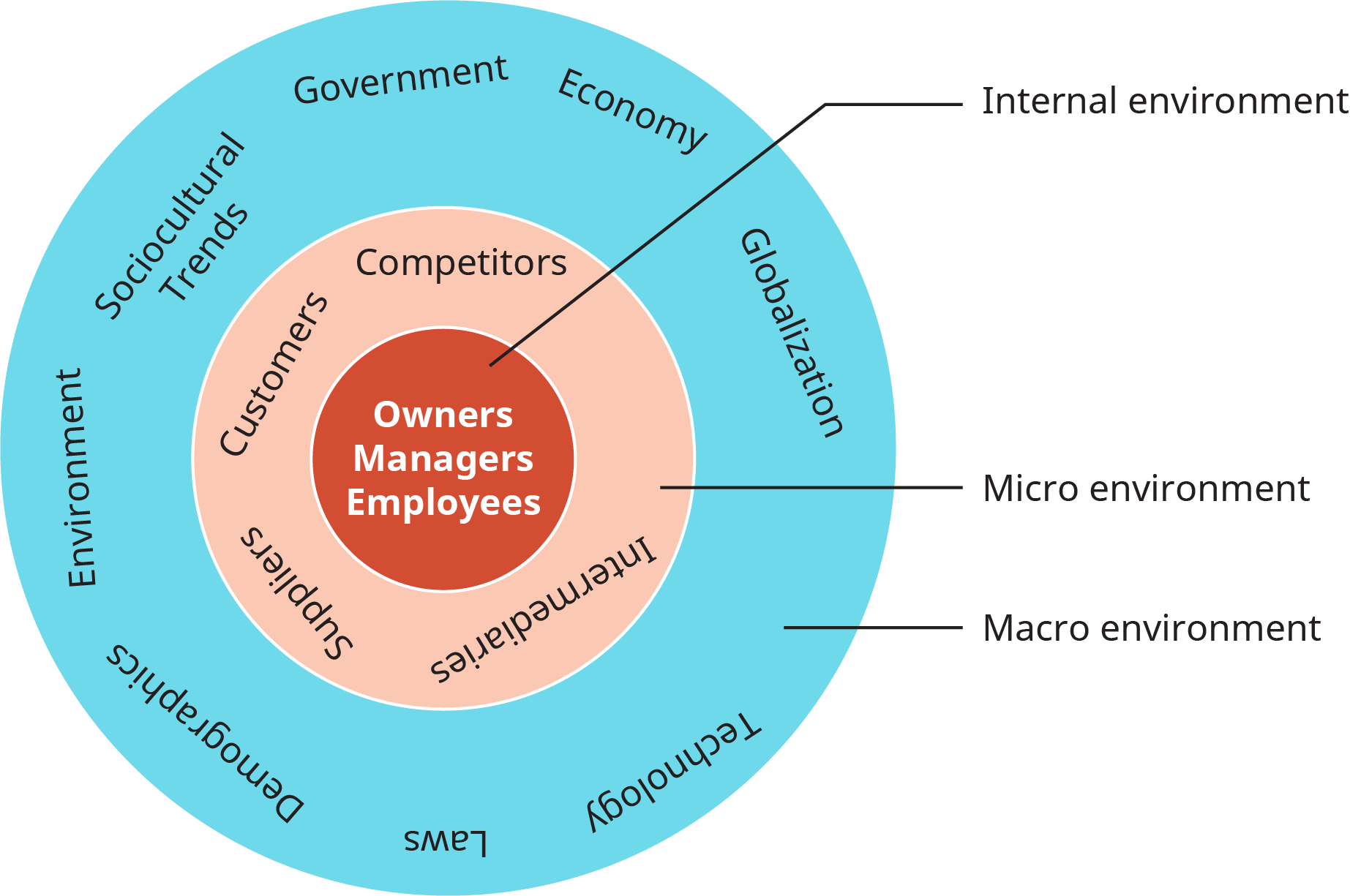 A diagram shows the layers and categories in the environment of a firm.