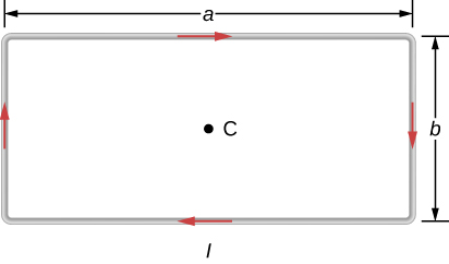 This figure shows a rectangular current loop. The length of the short side is b; the length of the long side is a. Point C is a center of the loop.
