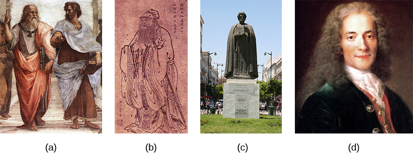 Figure (a) shows two ancient Greeks. Figure (b) shows an ancient Chinese man. Figure (c) shows a statue of a man. Figure (d) shows a portrait of a Frenchman.