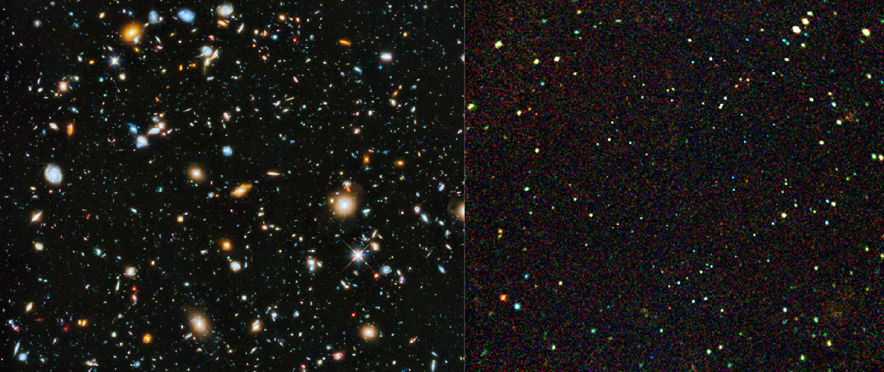 The Distant Universe. The panel at left shows the deepest picture of the sky in visible light. The filed is uniformly scattered with galaxies of all types. The panel at right is the deepest picture of the sky taken in X-rays. The field is uniformly covered with tiny points of light, much smaller than the images of galaxies seen on the left.